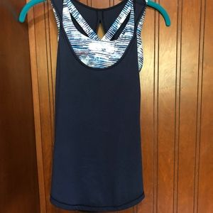 Lululemon Navy Tank Top with Built-in Bra Size 2